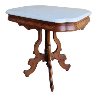 Eastlake Victorian Early 1900s Marble Top & Mahogany Table