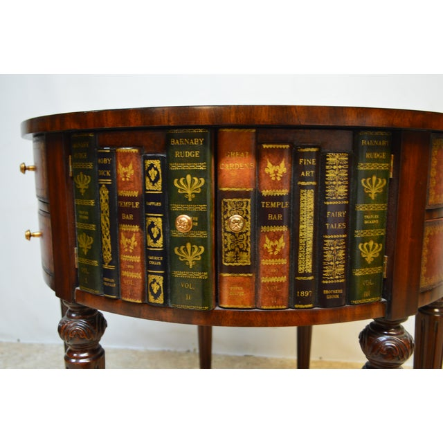 Animal Skin Maitland Smith Mahogany Book Leather Accent Round Hall Table For Sale - Image 7 of 13