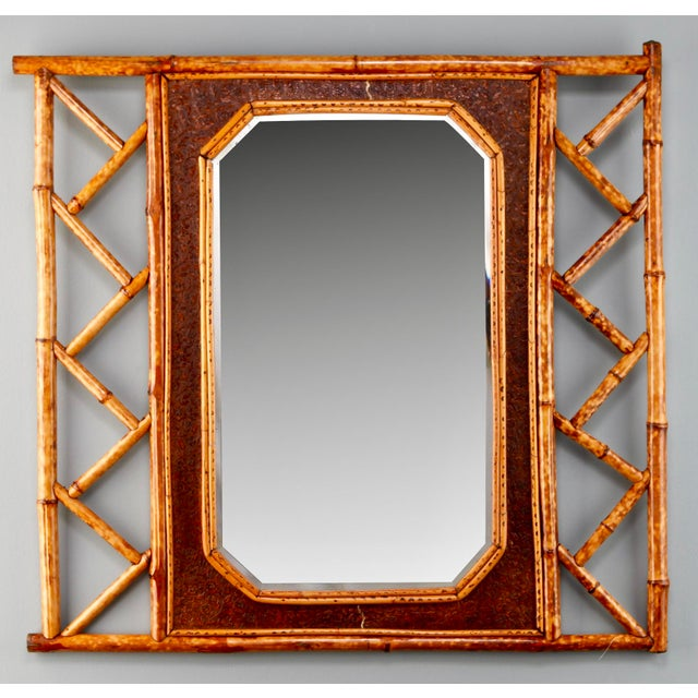 Vintage Wall Mirror With Bamboo and Leather Frame - Image 2 of 5