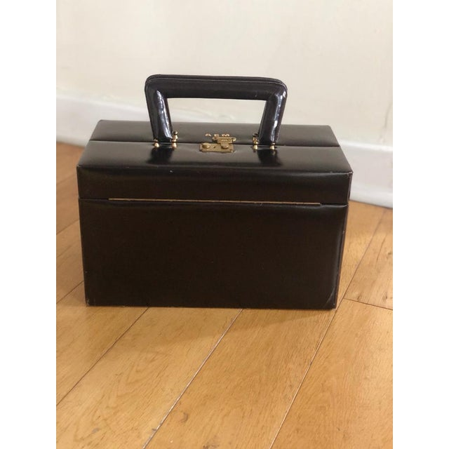 Vintage Mid Century Leather (Dark Brown ) travel case by Asprey of London. some scuffs, rubbing, surface marks, signs of...