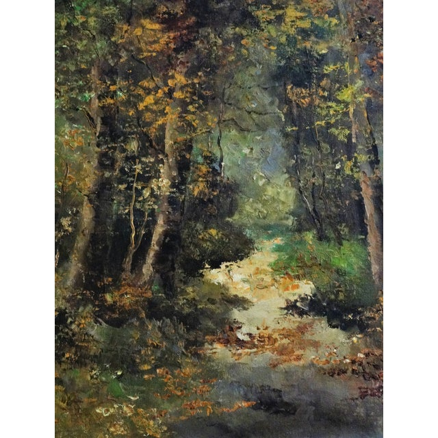 Wooded Path Oil on Canvas Painting - Image 4 of 7