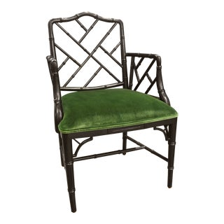 Modern Schumacher Green Velvet Asian-Style Arm Chair For Sale