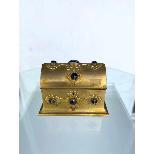 Gilt-Metal Box With Stone Accents For Sale - Image 12 of 12