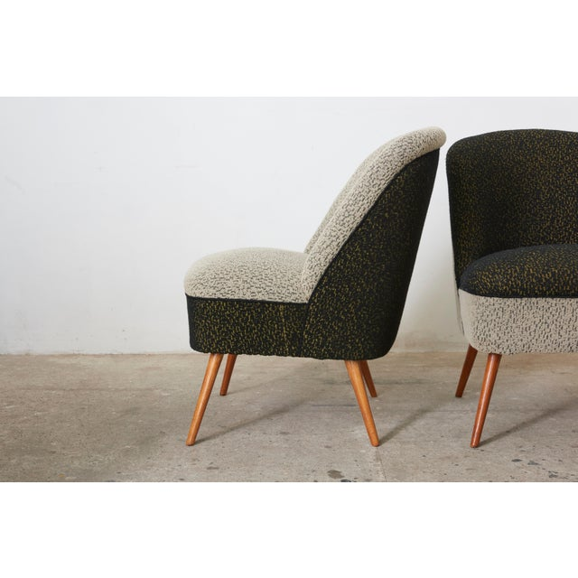 Mid-Century Modern Black and White Coctail Club Chairs ,1950s For Sale - Image 3 of 8