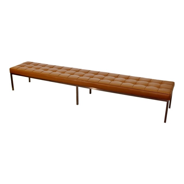 1970s Mid-Century Modern X-Long Tufted Leather Museum Bench For Sale