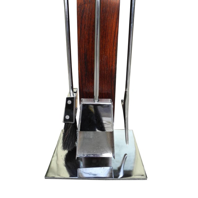 Mid 20th Century Fire Tool Set in Rosewood and Chrome, Attributed to Danny Alessandro For Sale - Image 5 of 7