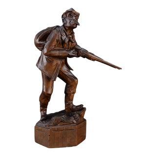 Black Forest Hand-Carved Wood Hunter Man Figurine For Sale