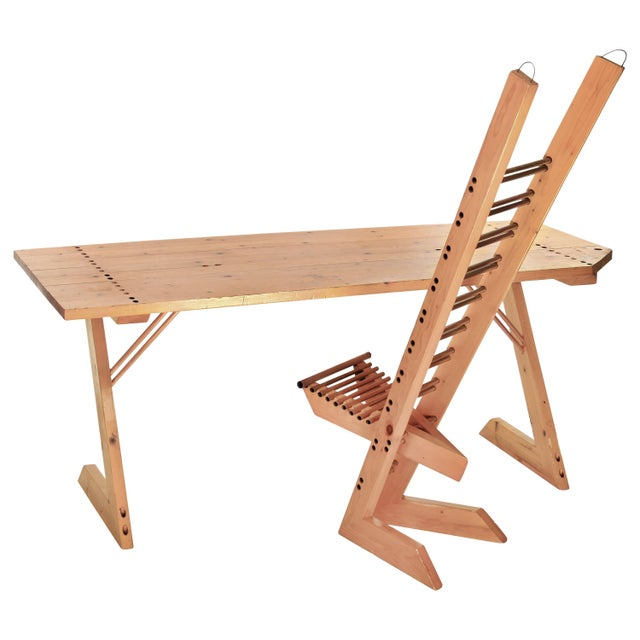 Vintage Desk and Chair Set Crafted from Repurposed Wood For Sale - Image 9 of 9