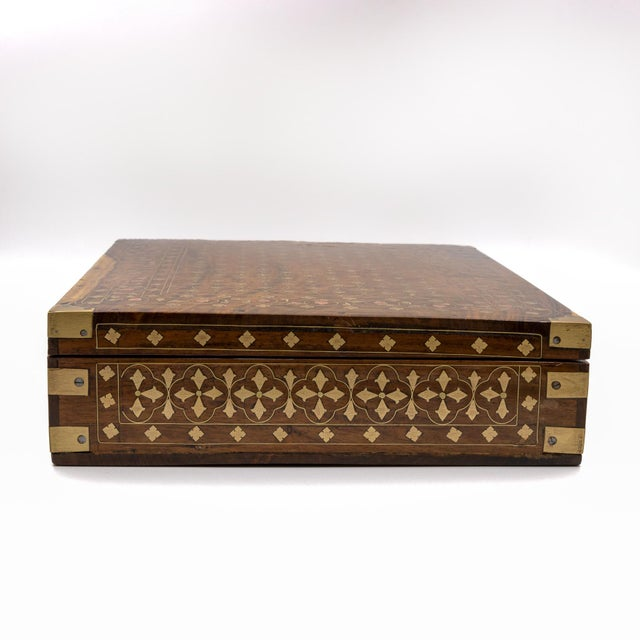 Anglo Indian Teak Box With Brass Inlay, India, Circa 1860 For Sale - Image 9 of 11