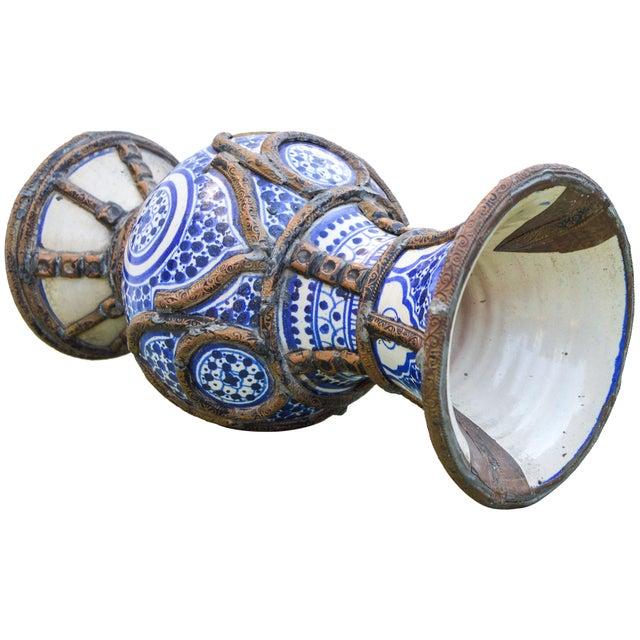 Metal Blue Ceramic Vase W/ Fine Brass Filigree For Sale - Image 7 of 10