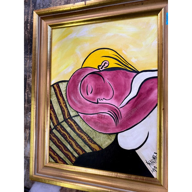 1990s After Picasso Woman With Yellow Hair Acrylic Painting, Framed For Sale - Image 5 of 13