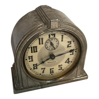 Silverplate Art Deco Alarm Clock For Sale