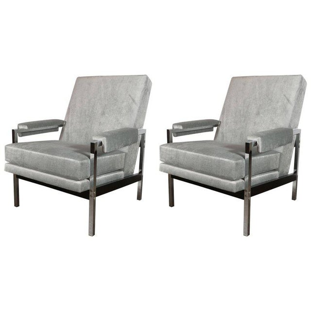 Mid-Century Modern Ebonized Walnut and Chrome Armchairs For Sale - Image 10 of 10