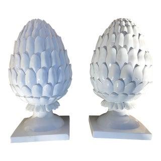 White Artichokes on Pedestals - a Pair For Sale