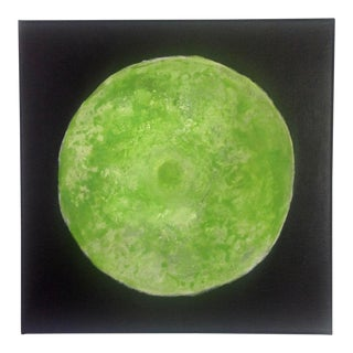 """""""Lime Moon"""" Green and Black Abstract Painting"""