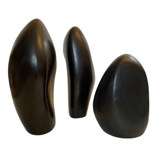 Black Biomorphic Ceramic Sculpture Trio Menhir by Ruth Pumphrey - Set of 3