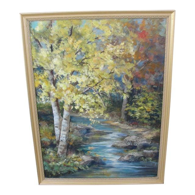 Vintage Impressionist Oil on Board Landscape Painting - Image 1 of 9