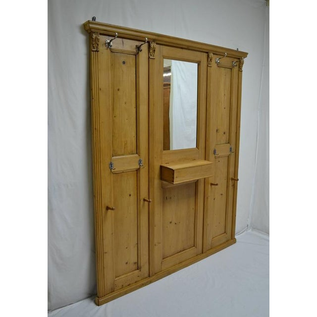 Country Pine Paneled Hallstand With Mirror For Sale - Image 3 of 9