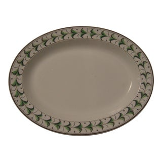 Staffordshire Oval Platter with Hand Painted Green Decoration, circa 1810