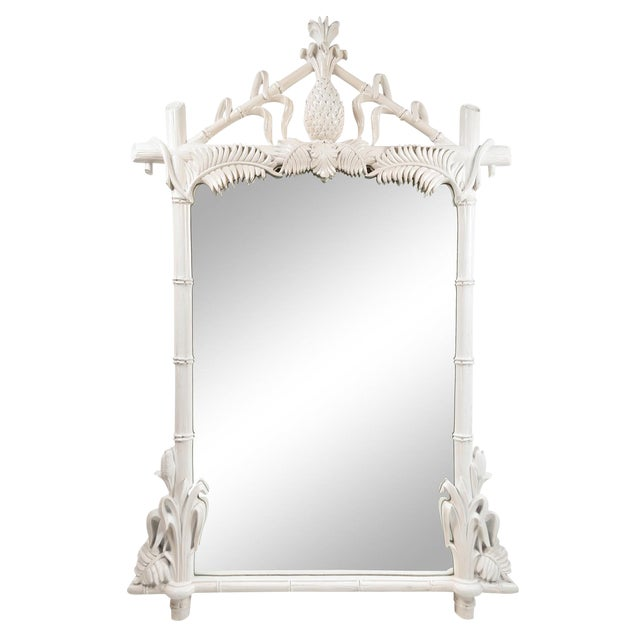 Gampel Stoll Faux Bamboo Wall Mirror For Sale
