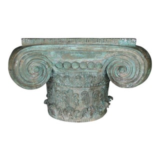 Patinated Bronze Ionic Capital Table Base For Sale