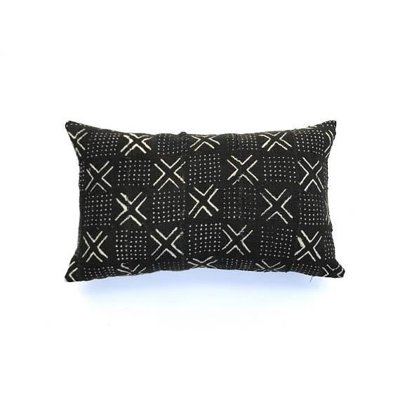 African Mudcloth throw pillow cover in ebony/ black with a x's and dots pattern. Authentic African textile imported from...