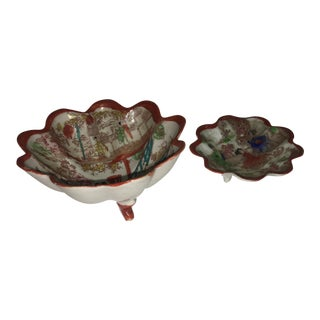 Japanese Floral Porcelain Dishes - A Pair