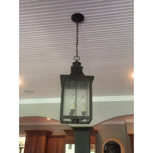 3-Light Hanging Lantern Chandeliers - A Pair - Image 3 of 5