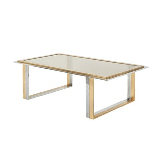 Mid-Century Modern Chrome and Brass Coffee Table With Glass Insert For Sale