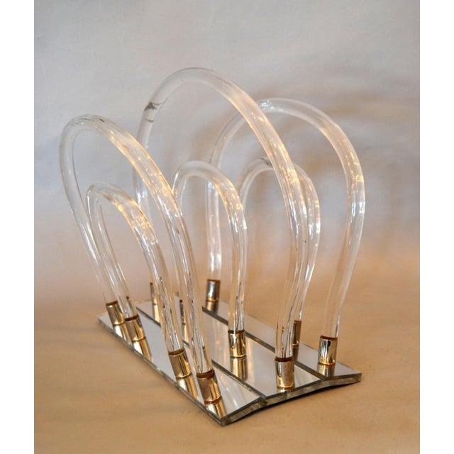 Dorothy Thorpe Dorothy Thorpe Mid-Century Modern Magazine Rack Mirrored Glass, Lucite & Chrome For Sale - Image 4 of 12