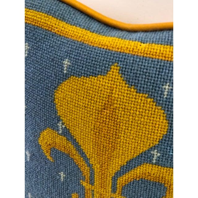 Metal Vintage Fleur-De-Lis Petite Needlepoint Pillow For Sale - Image 7 of 10
