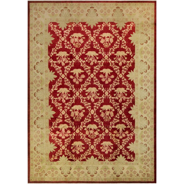 """Peshawar Jacquely Red & Tan Wool Rug - 10'2"""" x 14' For Sale"""