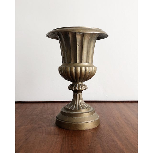 Hollywood Regency Style Brass Urn Vase Planter For Sale - Image 4 of 8