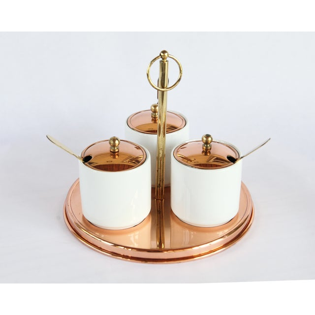 Vintage Ceramic & Brass Condiment Server Set - Image 2 of 4