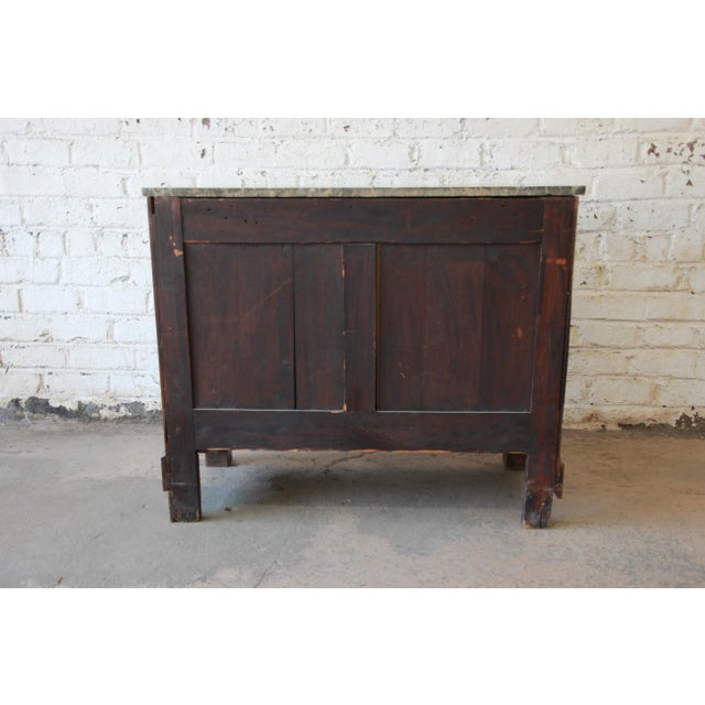 French Empire Mahogany Marble Top Commode Chest of Drawers, Circa 1850 For Sale - Image 12 of 13