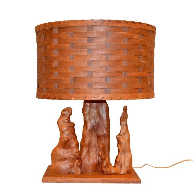 Organic Modern Sculptural Driftwood Table Lamp & Woven Basket Shade on Walnut Base For Sale