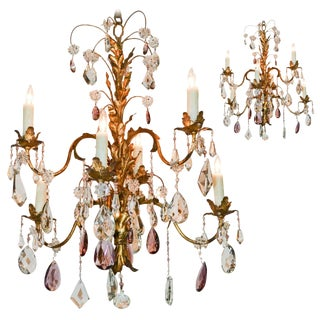 Excellent Pair of Tole and Crystal Chandeliers For Sale