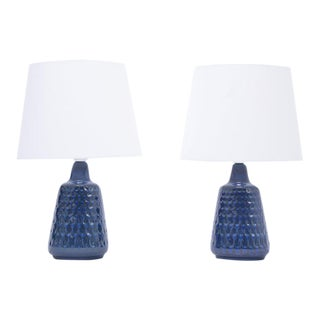 Mid-Century Model 1019 Blue Stoneware Table Lamps by Einar Johansen for Søholm, Set of 2 For Sale