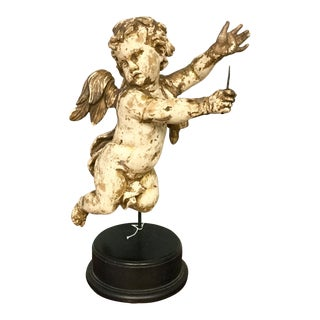 18th Century Figurative Gold Wood Carved Putti Figure