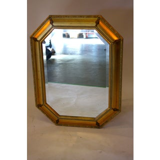 1970s Hollywood Regency Gilded Hexagonal Mirror For Sale