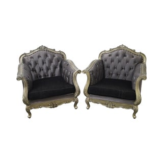 Rococo Style Silver Gilt Frame Tufted Bergere Lounge Chairs - a Pair For Sale