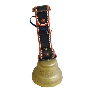 Vintage Authentic Swiss Brass Cow Bell and Hand-Tooled Leather Collar For Sale