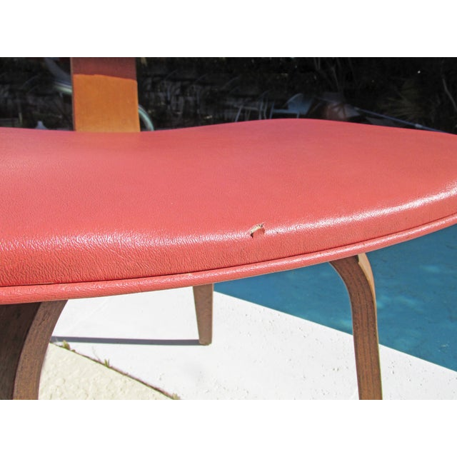 Thonet Vintage 1960 Bent Plywood Coral Vinyl Chair For Sale In Las Vegas - Image 6 of 6