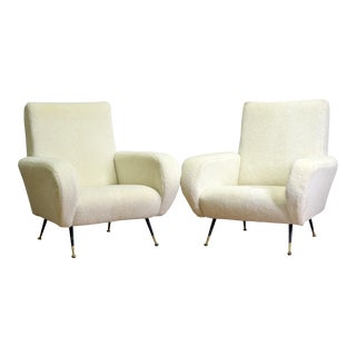 Cream Wool Chairs - a Pair For Sale