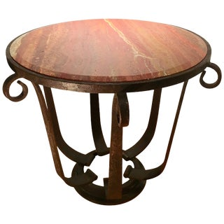After Raymond Subes Wrought Iron and Marble Table For Sale
