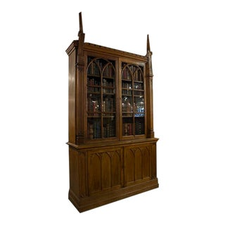 English Oak Gothic Display Cabinet With Two Glazed Doors Over Two Panel Doors For Sale
