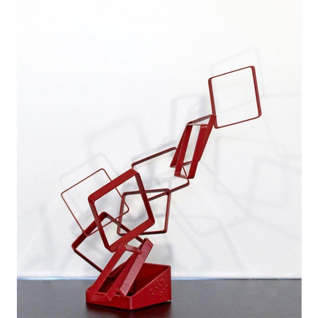 1990s Contemporary Red Metal Abstract Table Sculpture Signed Cynthia McKean For Sale - Image 4 of 12