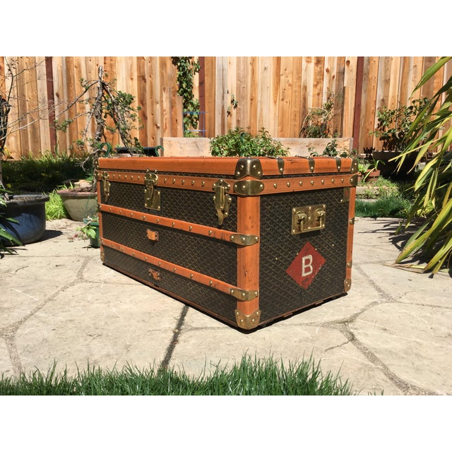 1930s Traditional Goyard Steamer Trunk For Sale - Image 6 of 13