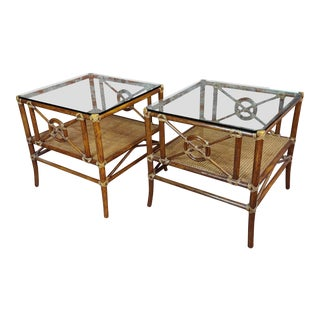 1970s Vintage McGuire Bamboo ,Cane & Glass Top Side Lamp Tables -A Pair For Sale