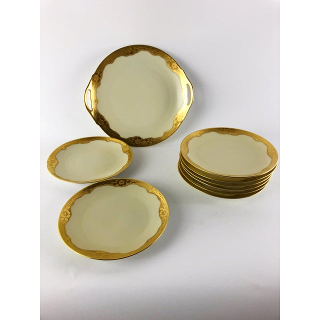 Art Nouveau Art Nouveau Bone China Gilded Poppy Motif Dessert Set by Thomas - Set of 9 For Sale - Image 3 of 3